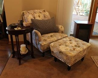 Pier 1 floral print armchair and ottoman