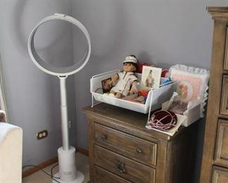 Dyson floor fan and Ashley nightstand