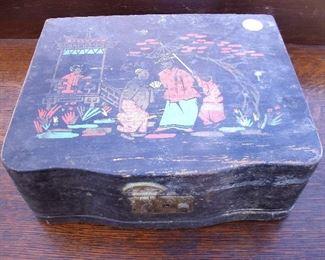 ANTIQUE HANDMADE WOODEN ASIAN SILVERWARE BOX