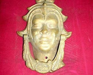 VINTAGE LARGE TIBETAN GOLD LEAF DOOR KNOCKER