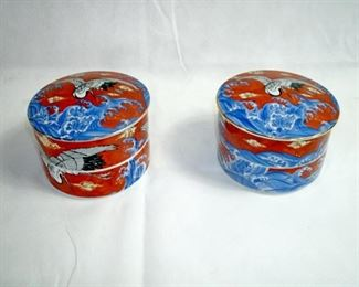 VINTAGE CYLINDRICAL TWO TIER TRINKET/POWERED BOX