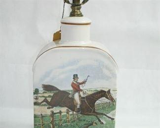 VINTAGE CERAMIC LAMP HORSE JOCKEY SCENE