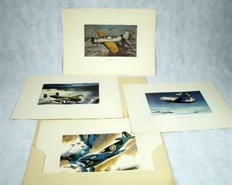 (RARE) WW II CURTISS WRIGHT MILITARY AIRPLANE COLOR LITHOGRAPHS