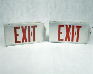 MID-CENTURY LIGHTED EXIT SIGNS