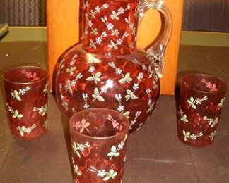 CRANBERRY DEPRESSION PITCHER GLASS SET WITH HAND PAINTED ENAMEL FLOWERS