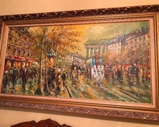 Large Xavier Rabous Oil on Canvas European Street Scene minus the guillotines