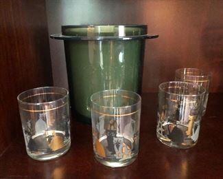Cool James Bond 60s bar glasses and ice bucket, complete with Sean Connery DNA on the rims (probably)