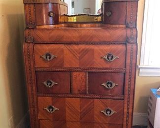 Beautiful Antique  Art Deco Walnut Waterfall Bedroom Set looks like a big busted matron from Downton Abbey