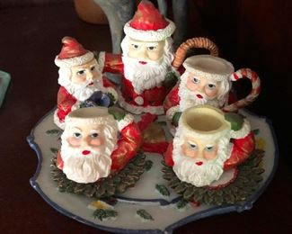 cups made from the hollowed skulls of several Santas