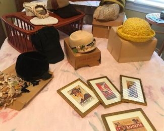 Framed replicas of Broadway playbills and fancy vintage hats to wear to see them