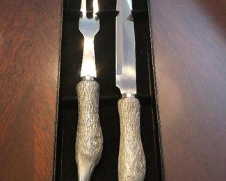 Pterodactyl-talon carving set, silver