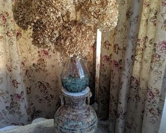 Large floor vase with dried flowers