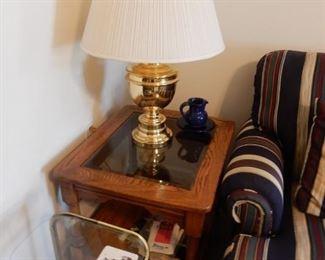 Oak end table & lamp