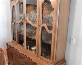 Country French breakfront china cabinet