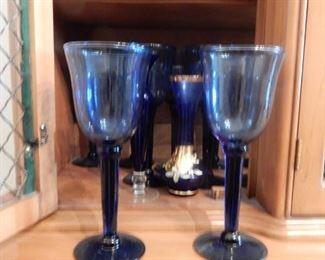 Blue stemware