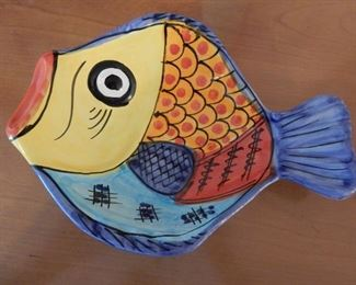 Decorative fish tray, signed