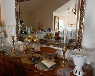 Assorted brass and glass decorative