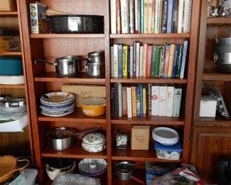 Bookcase, assorted housewares & decorative