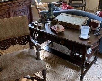 Antique French desk and wonderful arm chair