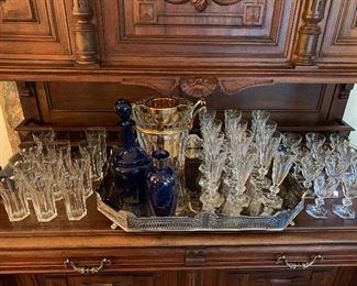 Baccarat Harcourt tumblers, champagne flutes and ports. Don't forget the Baccarat ice bucket!