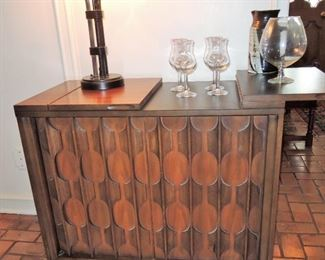 Dry bar / flip top buffet. Kent Coffey style with finished back