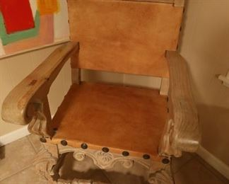 Antique Wood & Leather King's Chair: $300