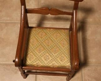 Child's Antique Wooden Chair with Upholstered Seat: $40