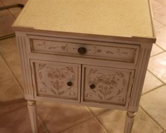 French Style Painted Wooden Nightstand: $100