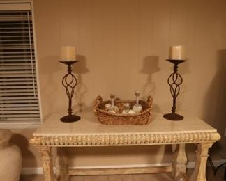 Wood and Solid Marble Top Console Table + Iron Candlesticks  (sold separately)