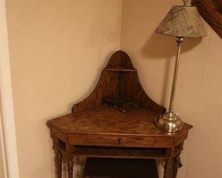 Antique Corner Wooden Desk + Stool: $300