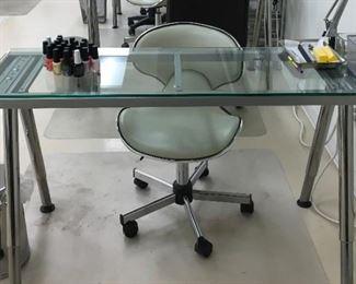 Glass & Chrome Desk: $100 + Swivel Chair: $40