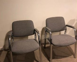 Set of 2 Upholstered Grey Chairs: $100