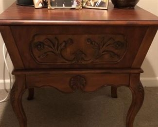 Carved Wooden Console (top opens for storage): $375