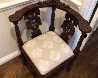 Antique Wooden Corner Chair: $300