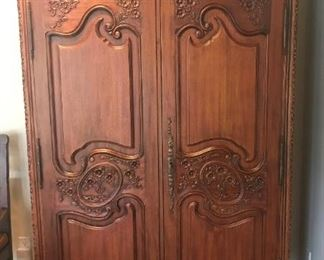 Antique Carved Wooden Armoire - $750