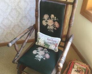 Antique Wood Platform Rocking Chair