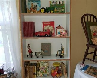 vintage books and kids' toys