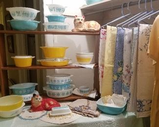 fabulous Pyrex and linens, and charming chalkware