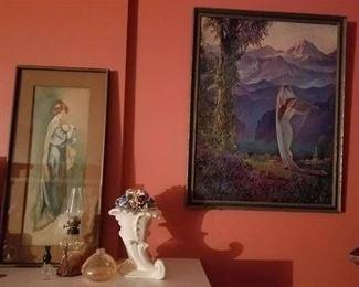 1920s art prints, spill vases
