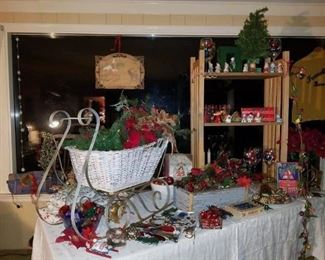 Old wicker sled, vintage Christmas decor
