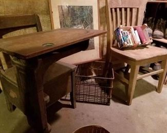 oak school chair/desk with drawer; 1950s metal milk crates