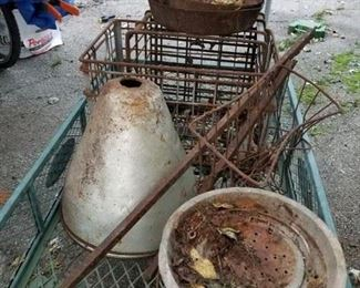Barn Finds!! baskets, crates, insulated glass light fixture, cast iron pans and pots