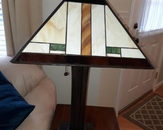 Mission Style Lamp with Leaded Glass Shade