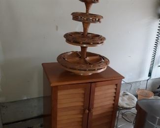 Vintage, Carved Wood,  Three Tier/Tray, Center Piece for Display or Serving Food