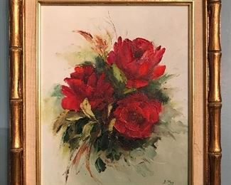 Original painting, red roses.