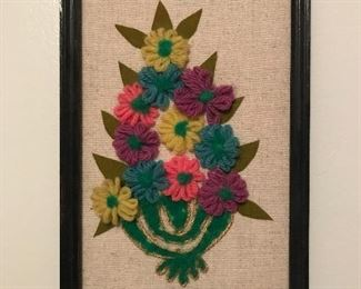 "Cute vintage crewel embroidery, approximately 7"" by 12""."