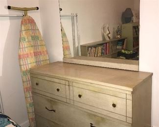 Mid Century bedroom group—chest, dresser with mirror, full size bookcase headboard bed.