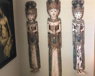 Arhaus Rice Goddess wall hangings ~ Hand carved teak