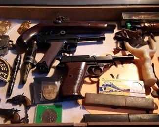 ANTIQUE TOYS, GERMAN STRAIGHT RAZORS, POLICE ITEMS, DUCK CALLS STERLING INK PEN, FISHING DECOY