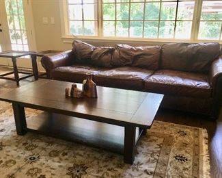 "Oversized (length 9'6"") brown leather sofa by Restoration Hardware"